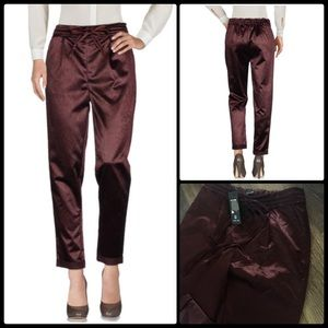 LOST INK 🍇 Drawstring Satin Peg Trousers NWT